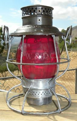FT WORTH & DENVER CITY RAILROAD LANTERN – Red Etched FW&DC Globe
