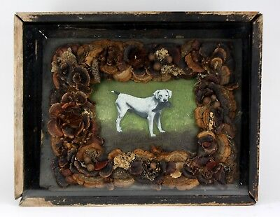Vintage Wooden Shadow Box Framed Painted Dog Folk Art Picture