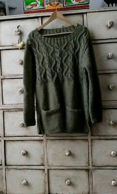 Hand Made Knitted Wool Jumper Folk Hippy Green With Pockets Aaron Cable M
