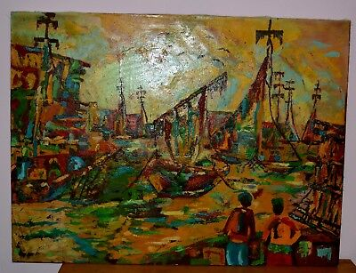Vintage Collectible Sudan Art Painting Large Size 48X36 Rare