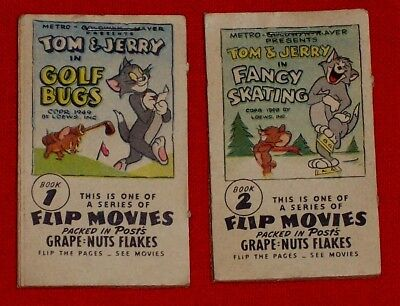 TWO VINTAGE FLIP MOVIE BOOKS #1 & #2 TOM & JERRY Comics 1949 Metro Goldwyn Mayer