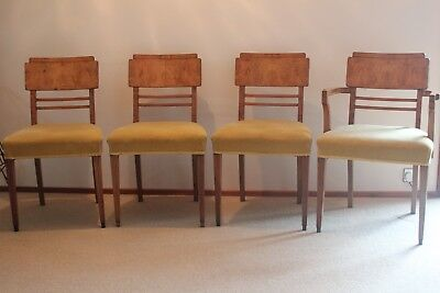 Set of 4 Superb Quality Art Deco Walnut Dining Chairs. C1920