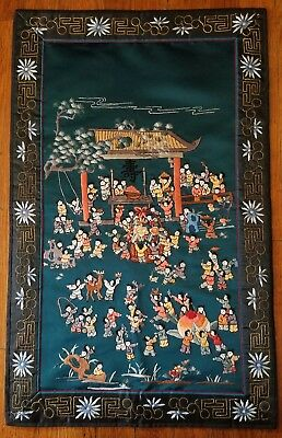 Antique Vintage Chinese Silk Embroidered Metallic Threads Panel Children Playing
