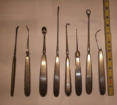 Vintage LOT OF 8 MEDICAL INSTRUMENTS SURGICAL TOOLS FROM hospital antique ESTATE