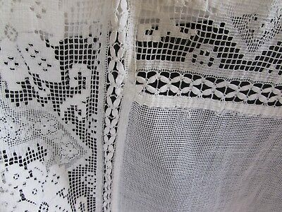 Antique French lovely old large lace hand finished curtain