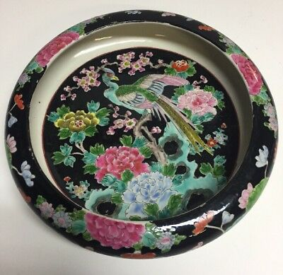 Antique Black Japanese Chinese Porcelain Bird Pheasant Bowl Dish Plate 10.25""