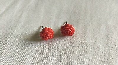 GREAT CONDITION! Beautiful Vintage Inspired Earrings! Red Rose Studs!