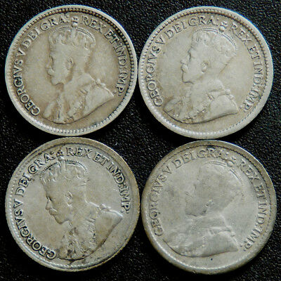 Canada Lot of 4 George V Five Cents 1912 1912 1913 1920   #910106