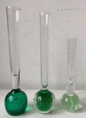 Collection of three vintage controlled bubble glass bud vases green bundle