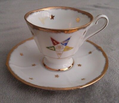 Order of the Eastern Star Handpainted Cup and Saucer Unbranded China