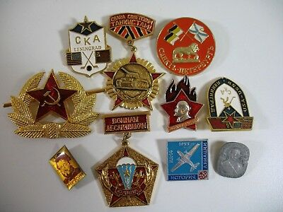 Russian USSR Hat Pin Badges Medals + other Decorations Lot of 10 all different!