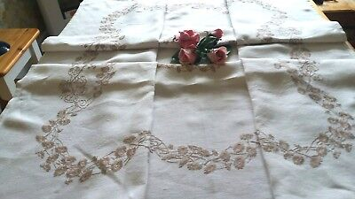 Beautiful Vintage Cream Linen Hand Embroidered Tablecloth.