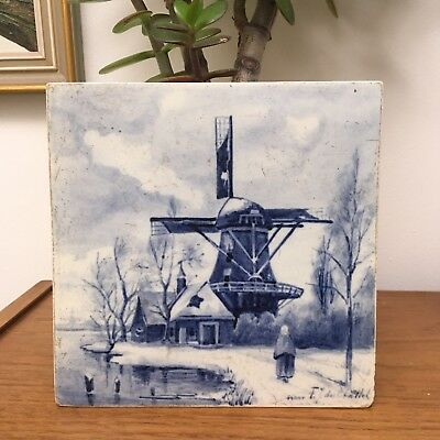 Vintage Delft Joost Thooft & Labouchere Blue White Tile Windmill 1939 Signed