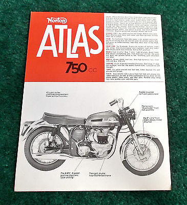 Original 1966 Norton Motorcycle Sales Leaflet 750 Atlas Scrambler Brochure