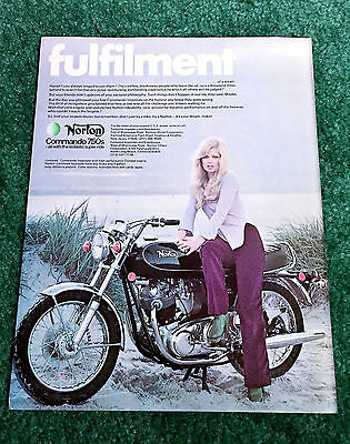 Orig 1973 Norton Pin-Up Motorcycle Magazine Ad 750 Commando Interstate Poster?