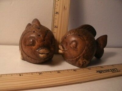 Set of Brown Fishes Salt & Pepper Shakers (Used)