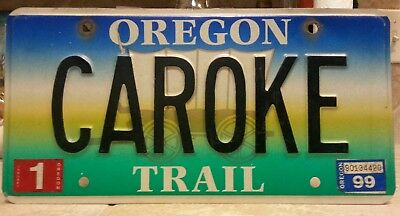 "1999 Oregon Trail Personalised ""CAROKE"" License plate tag NO RESERVE!!!!"