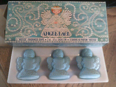 1975 Avon ANGEL LACE Blue Soap Hostess Fragrance Set in Box Vintage