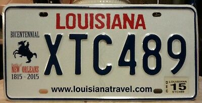"2015 Louisiana Andrew Jackson ""XTC"" license plate tag"