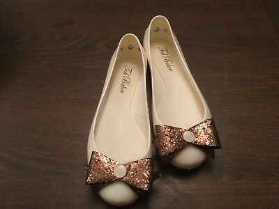 Ted Baker Ballerina Shoes Flat Cream / Ivory Rose Gold Bow Size 37 / 4 NEW