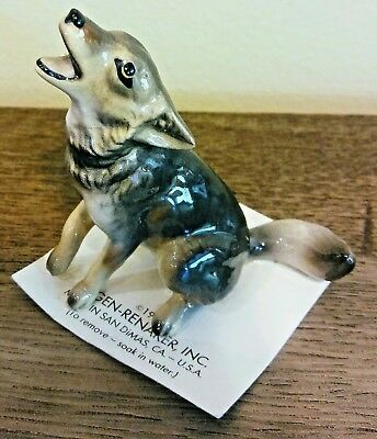 Vintage 1989 Hagen Renaker Timber Wolf Figurine Howling Ceramic Miniature