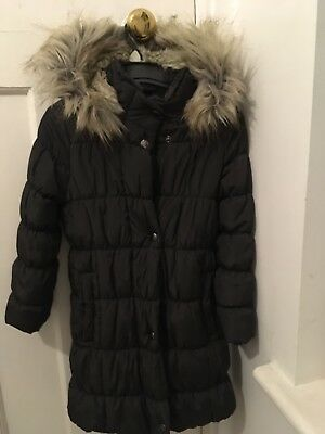 Girls Marks And Spencer Warm Winter Puffa Jacket Hooded Dark Grey Age 5-6Years