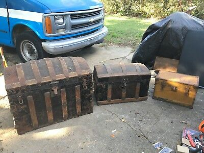 Antique Vintage Old Trunks Treasure Chests