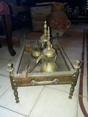 Antique Islamic Arabic Copper Dallah 3 Set and Stove Rare Rare