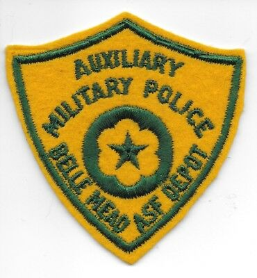 Wwii Aux M. P. Belle Mead Asf Depot Wool Embroidered Shield Patch