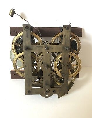 Untested Antique Clock Movement American Deadbeat Escapement With Pendulum
