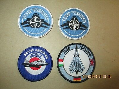 4 Brand New Colored British Hawk & Tornado Aircraft Patches