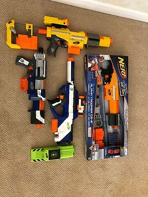 Lot of 4 Nerf Guns, Working Rayven and Alpha Trooper, two non working w/add ons