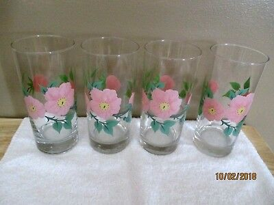 "4 Ice Tea Water Glass Tumbler - 6-1/4"" - Franciscan Desert Rose  Pre-owned"