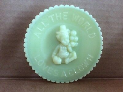 "Mosser 3.5"" Collectible Glass Clown Plate  ""All The World Loves A Clown""-EUC"