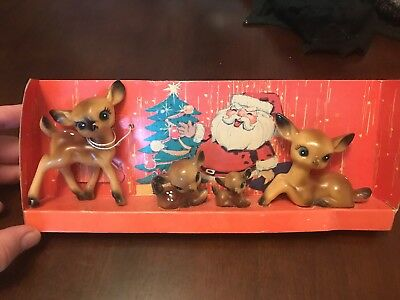 Set 4 Family Vtg Hard Plastic Figurines Christmas Deer Reindeer 1970s Hong Kong