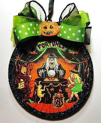 Hand Made ~ All Hallow's Eve Fortunes ~ glittered wood slice Halloween Ornament