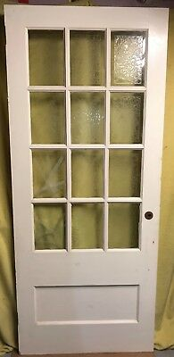 34x82 Antique Interior French Wood Door 12 Pane /w Glue Chip Glass