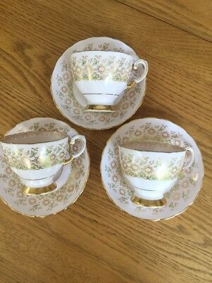 Vintage Tuscan Fine Bone China England Green Gold Rimmed 3 Cups & Saucers