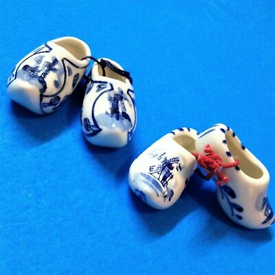 Dutch Delft Blue Porcelain - 2 x Pairs Mini Clogs -Dated, Hand Painted Windmills