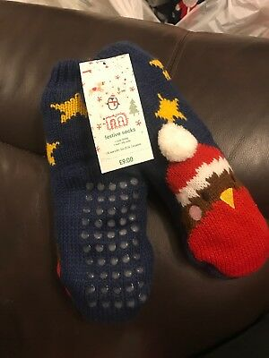 Mothercare Baby Boys Girls Christmas Slipper Socks Age 2-4 Years Robin Cosy Warm