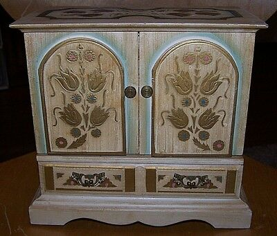 Vintage Florentine Wood Royal Sealy Toleware 4 Drawer Jewelry Box Armoire