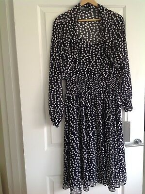 Michaela Louisa Navy/white Spotted 2 Piece Dress & Jacket Bnwt Size 18