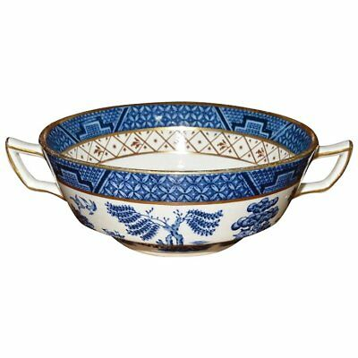 """Booths """"Real Old Willow"""" Flat Cream Soup Bowl with Handles"""