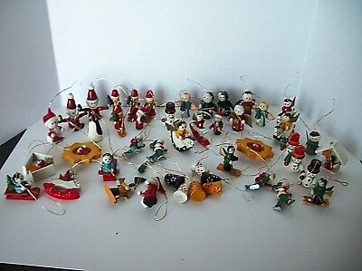 45 Vintage Hand Painted Miniature Wooden Christmas Ornaments