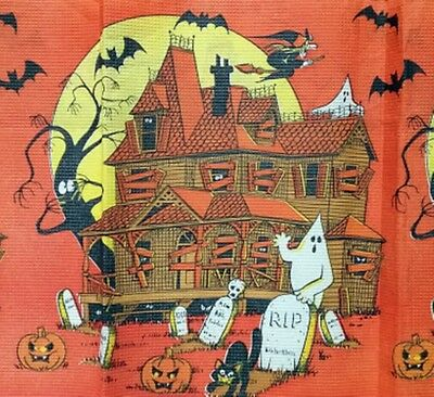 VTG HALLOWEEN CREPE PAPER TABLECLOTH~UNUSED~Black Cat Haunted House Witch Ghost