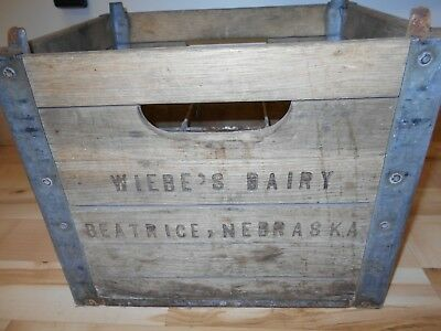 Vintage Wiebe's Wiebe Dairy Crate Beatrice Nebraska or 6 1/2 gal glass Milk Jugs