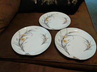 3 Napco Yellow & Gray  Hand Painted Snack Plate Mid Century Gold Trim