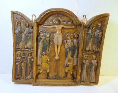 Orthodox Christian TRIPTYCH ICON - The CRUCIFIXION Carved Wax Painted Highlights