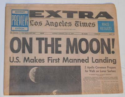 1969 1st MAN ON THE MOON! LANDING Armstrong, Aldrin Apollo11 7/21/69 Newspaper