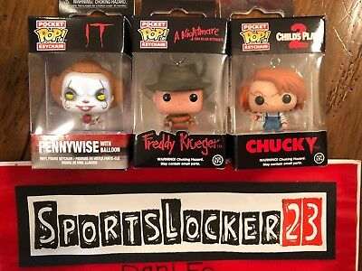 3 POP Pocket Keychain Freddy Kruger Chucky Pennywise Exclusive Lot
